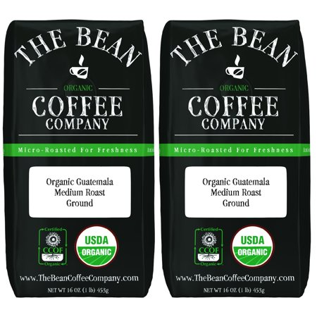The Bean Coffee Company Organic Aloha Bean (Hawaiian Hazelnut) Medium Roast Ground 16-Ounce Bags (Pack of 2) Organic Ground 16 Ounce (Pack of