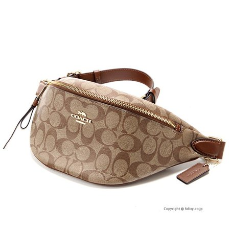 28182e5630e COACH Signature Belt Bag Fanny Pack Brown Khaki Saddle