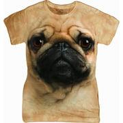 Tan Cotton Pug Face Design Novelty Parody Womens T-Shirt NEW