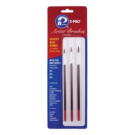 Premier Paint Roller LLC 3pc Red Sable Art Brush AR10103