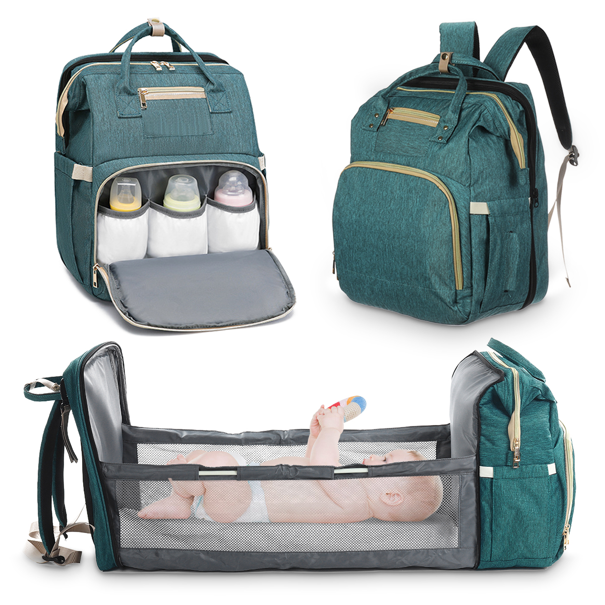 Wedmay Mummy Backpack Foldable Waterproof Travel Cot Bag for Infant Toddler Portable 3 in 1 Baby Nappy Changing Bag Backpack