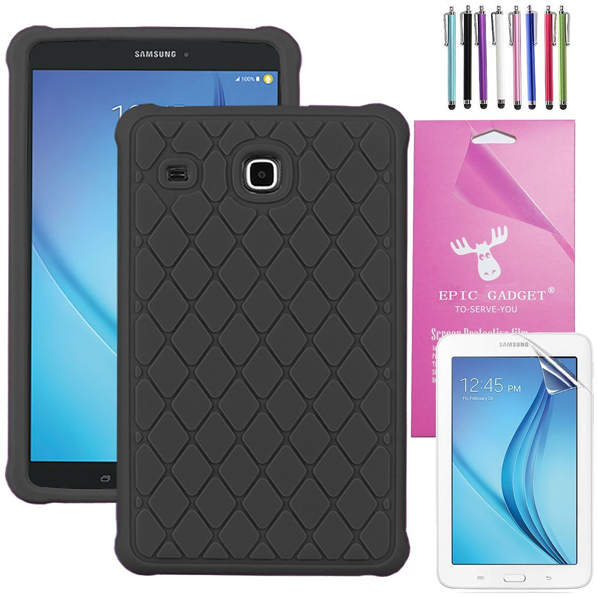 "Galaxy Tab E 8.0 Case, EpicGadget(TM) Diamond Grid Silicone Rubber Gel Cover Case with Full Protection For Samsung Galaxy Tab E 8.0"" SM-T377/T375 Tablet, Free Screen Protector+Stylus(Black)"