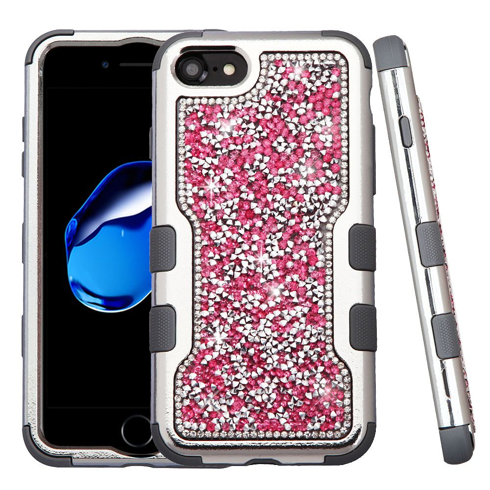 iPhone 8 Case, iPhone 7 Case, by Insten Silver Plating Frame Mini Crystals Back TUFF Vivid Hybrid Case For Apple iPhone 8 / iPhone 7 - Hot Pink/Iron Gray