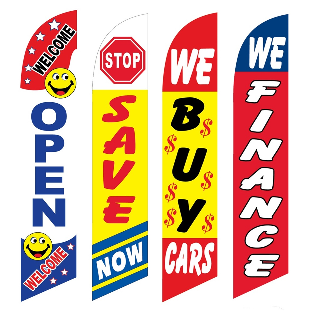 4 Advertising Swooper Flags Open Stop Save Now We Buy Cars We Finance Adverising