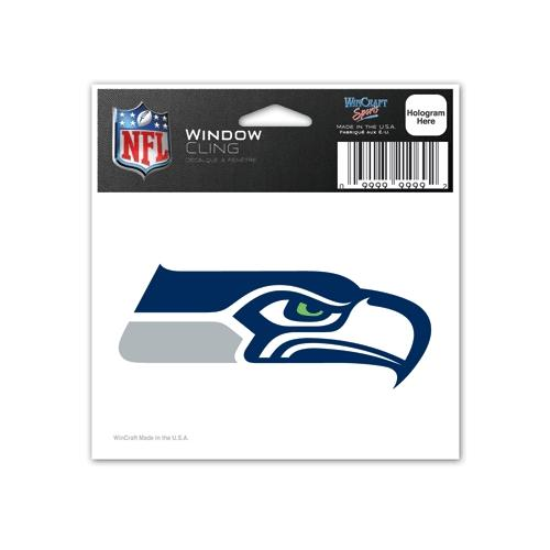 Seattle Seahawks Official NFL 3 inch x 4 inch  Car Window Cling Decal by Wincraft