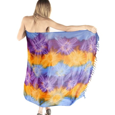 HAPPY BAY Beach Sarong Bathing Swimsuit cover up Women Rayon Hand Tie Dye Multicolored