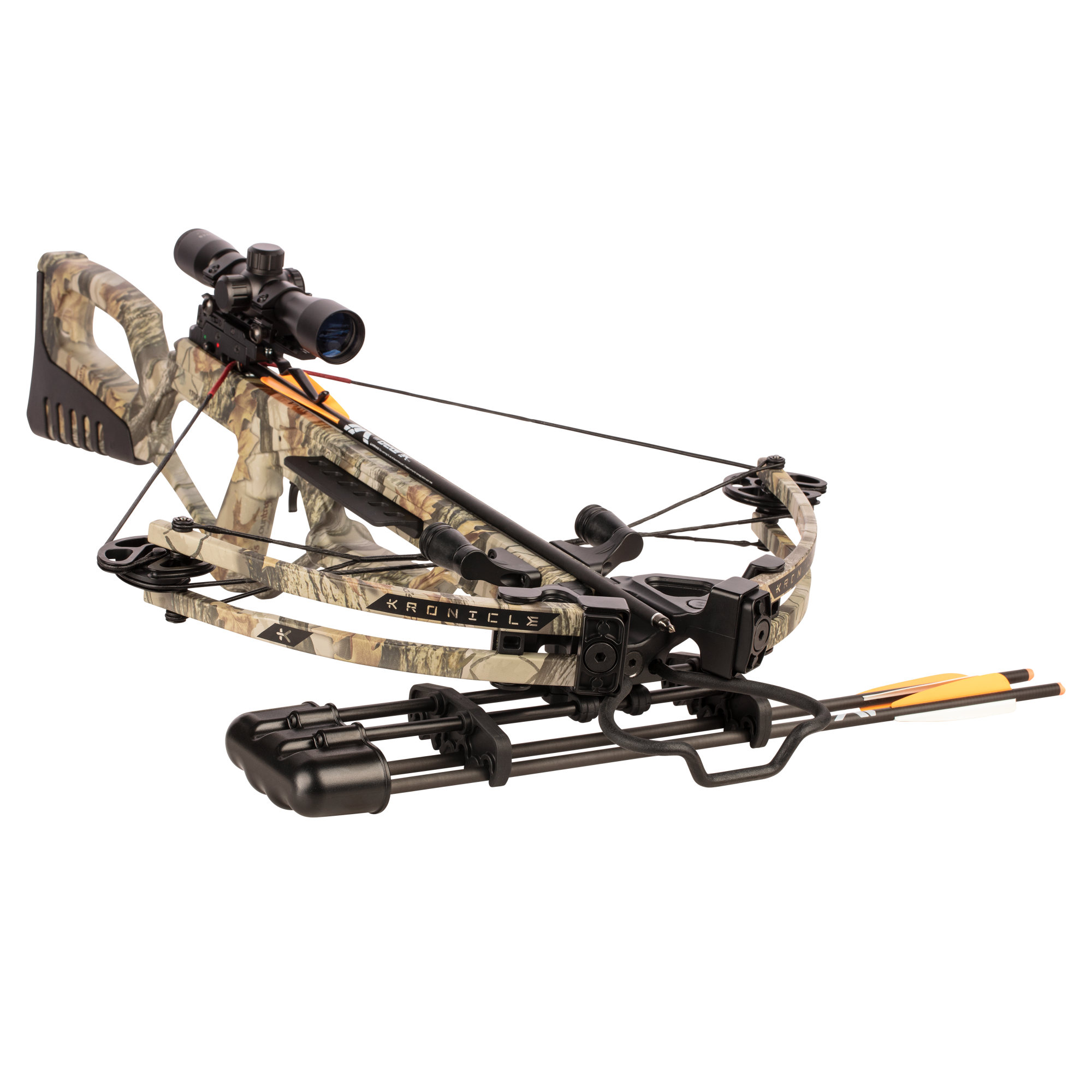 Bear X Kronicle Ready to Shoot Crossbow with Illuminated Scope, Quiver, Bolts, Cocking Rope, and Wax