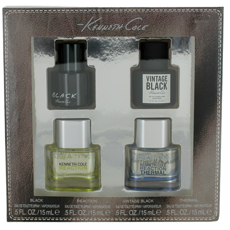 Kenneth Cole For Men Miniature Set: Black EDT 0.5oz +Vintage EDT 0.5oz +Reaction EDT 0.5oz +Reaction Thermal EDT 0.5oz ()