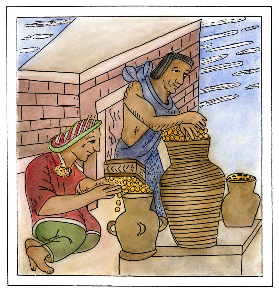 Aztec Farmers Naztec Farmers Storing Their Harvested Corn In Clay Containers Line Drawing From The Codex Florentino A Treatise By Bernardino De Sahagun (1499-1590) On The Aztecs And The Spanish Conque