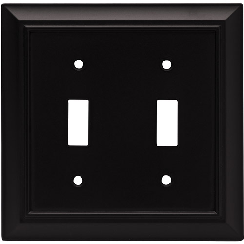 Franklin Brass Architectural Double-Switch Wall Plate, Flat Black