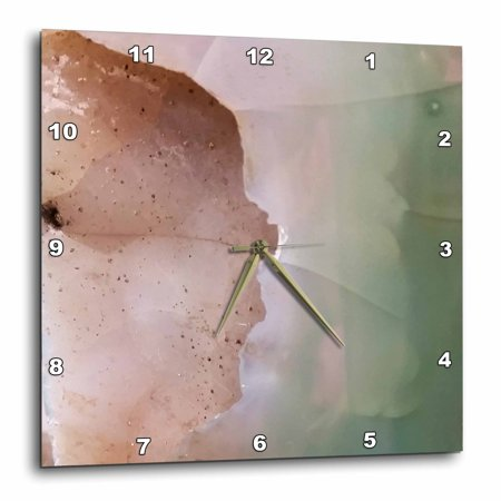 3dRose Image of Close Up Of Peach And Green Agate - Wall Clock, 15 by 15-inch