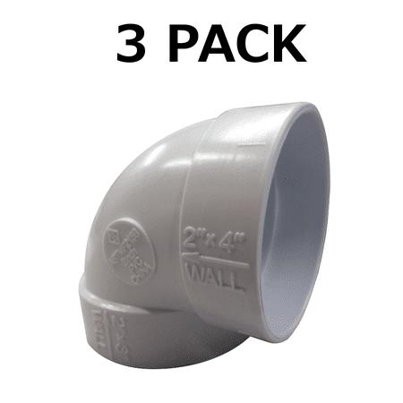 "Central Vacuum 2"" PVC Pip 90 Degree Short Elbow QTY 3"