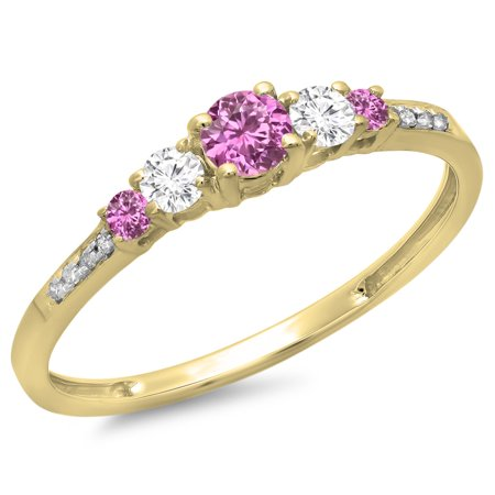 14K Gold Round Cut Pink Sapphire & White Diamond Ladies Bridal 5 Stone Engagement Ring