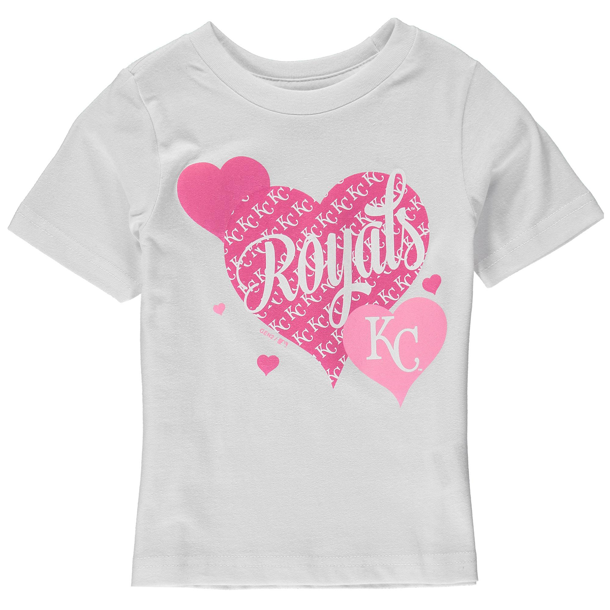 Kansas City Royals Girls Toddler Bubbly Luv T-Shirt - White