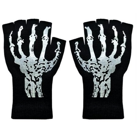 Gloves Short Fingerless W Skeleton - Skeleton Fingerless Gloves