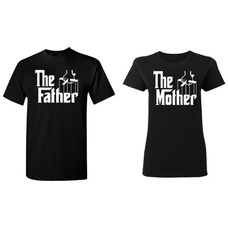 The Father - The Mother Couple Matching T-shirt Set Valentines Anniversary Christmas Gift Men Small Women