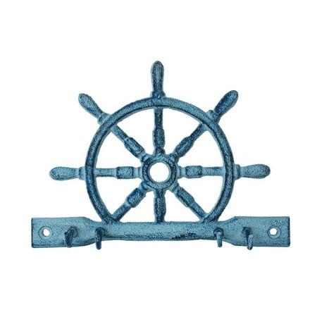 "Rustic Dark Blue Whitewashed Cast Iron Ship Wheel with Hooks 8"" - Decorative Cast Iron Wall Hook"