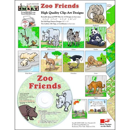 ScrapSMART Zoo Friends Clip-Art CD-ROM, Colorful Illustrations for Scrapbook, Craft, Sewing