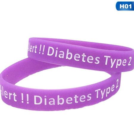 AkoaDa 1\/2Pcs Type 2 Diabetes Medical Alert Silicone Bracelets andamp; Bangles For Women Men Sports Wristbands Jewelry Gifts Esq Sport Bracelet