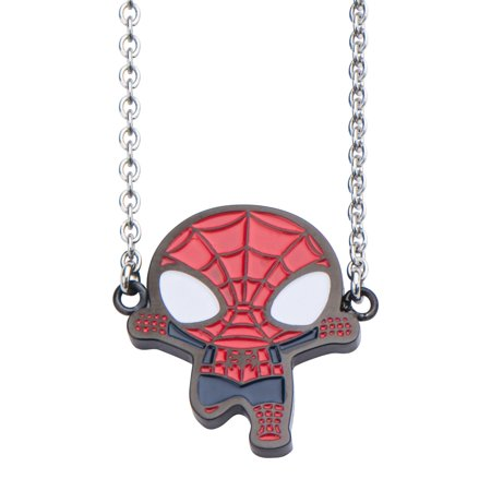 Marvel Stainless Steel & Black IP Spider-Man Face Pendant with Stainless Steel Chain](Spiderman Jewelry)
