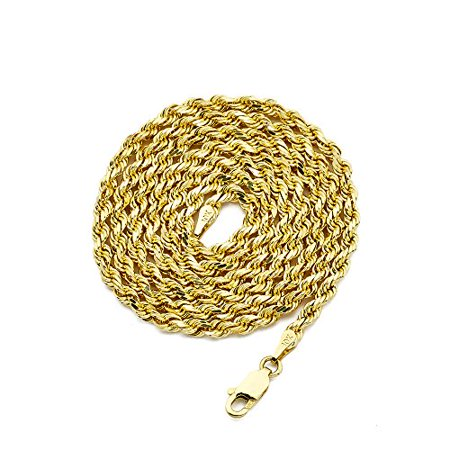 LOVEBLING 10K Yellow Gold 3mm Diamond Cut Rope Chain Necklace - 3mm Ss Necklace