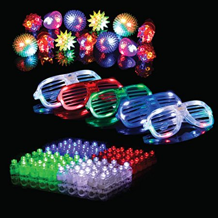 Sunglasses Favors Bulk (50-Pc. LED Party Favors for Adults & Kids (5 Slotted Sunglasses, 13 Jelly Rings & 32 Finger Light-Up Toys) – Glow-in-the-Dark Party)