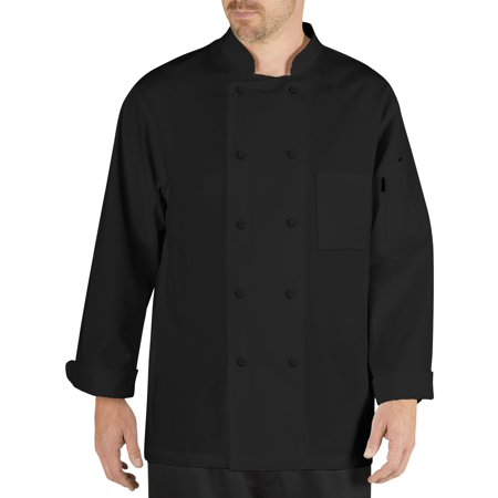 Chef Code Cool Breeze Chef Coat with Long-Sleeves and Mesh Vent Inlay (Chef Revival Black Jacket)