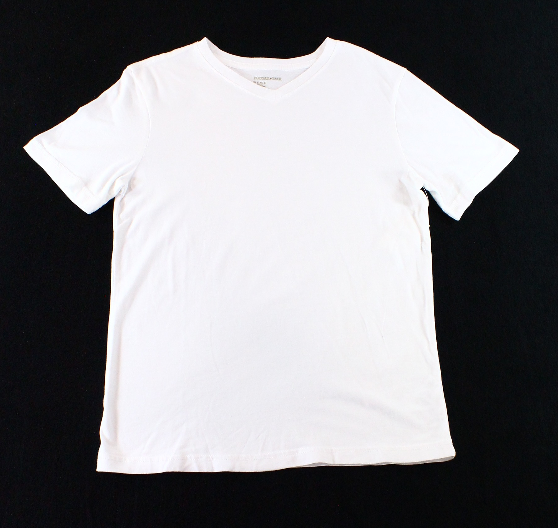 TUCKER & TATE NEW White Size XL 14-16 Short Sleeve Solid V-Neck T-Shirt DEAL