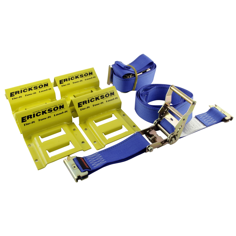 ERICKSON ATV Wheel Chock and Tie-Down Strap Kit Blue, Yellow  #311660