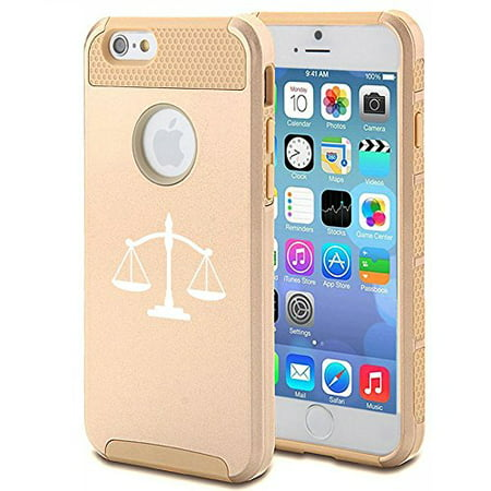low priced a7df1 3eecc Apple iPhone 6 6s Shockproof Impact Hard Case Cover Scales Of Justice (Gold  ),MIP