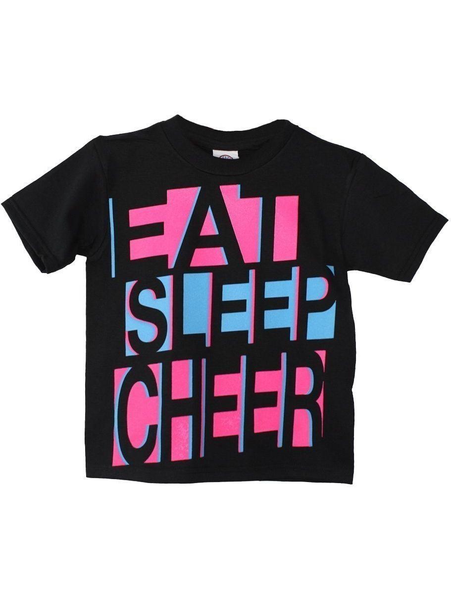 "Girls Black Neon Pink ""Eat Cheer Sleep"" Print Cotton T-Shirt"