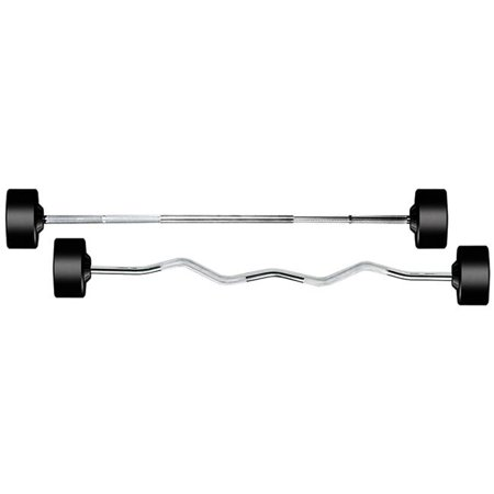 York Barbell 26140 Rubber Fixed Pro Straight Barbell - 20 lbs