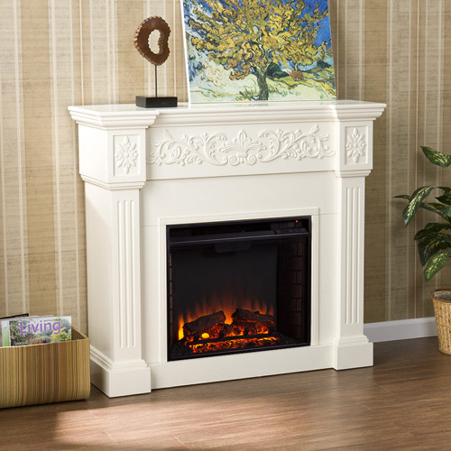 Southern Enteprises Jordan Electric Fireplace, Ivory