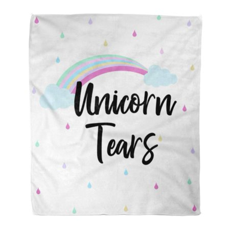 NUDECOR Flannel Throw Blanket Creative Unicorn Tears Letter Lettering Motivation Quote Text 58x80 Inch Lightweight Cozy Plush Fluffy Warm Fuzzy Soft - image 1 de 4