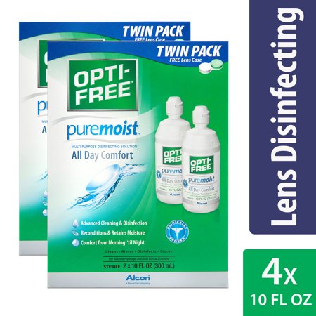 (2 Pack) Opti-Free Puremoist All Day Comfort Multi-Purpose Disinfecting Solution, 2 x 10 Fl Oz