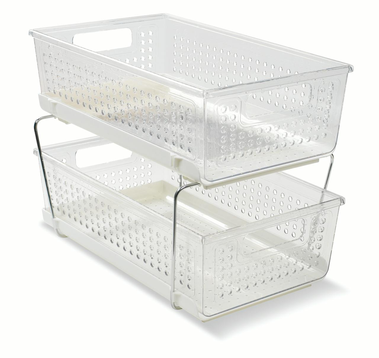 Madesmart Cabinet Storage Basket with 2 Levels and White Base