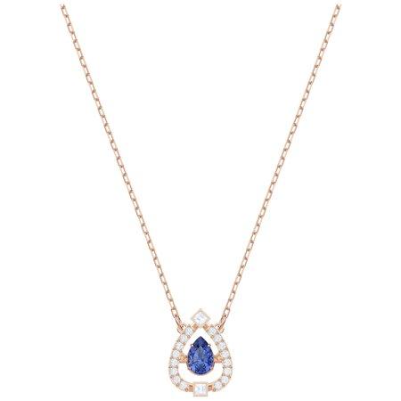 - Swarovski Sparkling Dance Pear Necklace - Blue - Rose Gold Plating