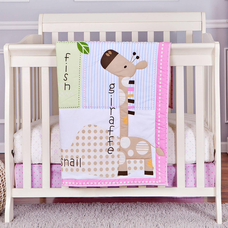 Dream On Me Jungle Friends 2-Piece Reversible Portable Crib Bedding Set