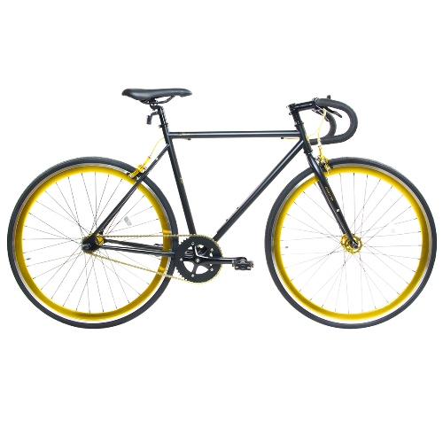 Road Bike by Corsa - 21'' Black/Gold DP Fixie