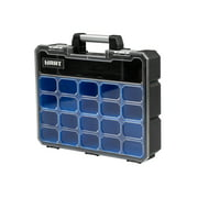 HART 9-Compartment Deep Small Parts Organizer and Tool Box, Black and Blue