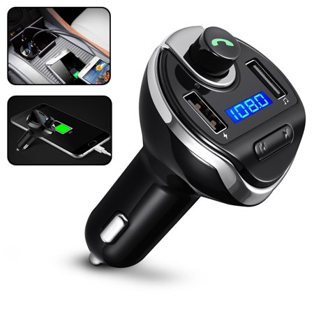 TSV Wireless Bluetooth FM Transmitter Radio Adapter Car Kit, Hands-Free Calling & LED Display MP3 Player [Support TF Card/USB Driver] with Dual USB Charging Ports for iPhone iPad