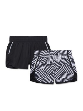 Athletic Works Girls 4-18 & Plus Printed & Solid Active Running Short, 2-Pack