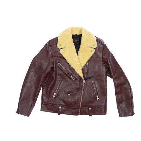 Shearling Leather Coat - Coach 'Boys Biker Jacket' Women's Shearling Leather Jacket (Large, Burgundy)