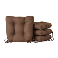 """Mainstays Faux Suede 14.5"""" Chair Cushion with Ties, 4 Pack, Warm Chocolate"""