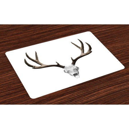 Antlers Placemats Set of 4 A Deer Skull Skeleton Head Bone Halloween Weathered Hunter Collection, Washable Fabric Place Mats for Dining Room Kitchen Table Decor,Warm Taupe Pale Grey, by Ambesonne