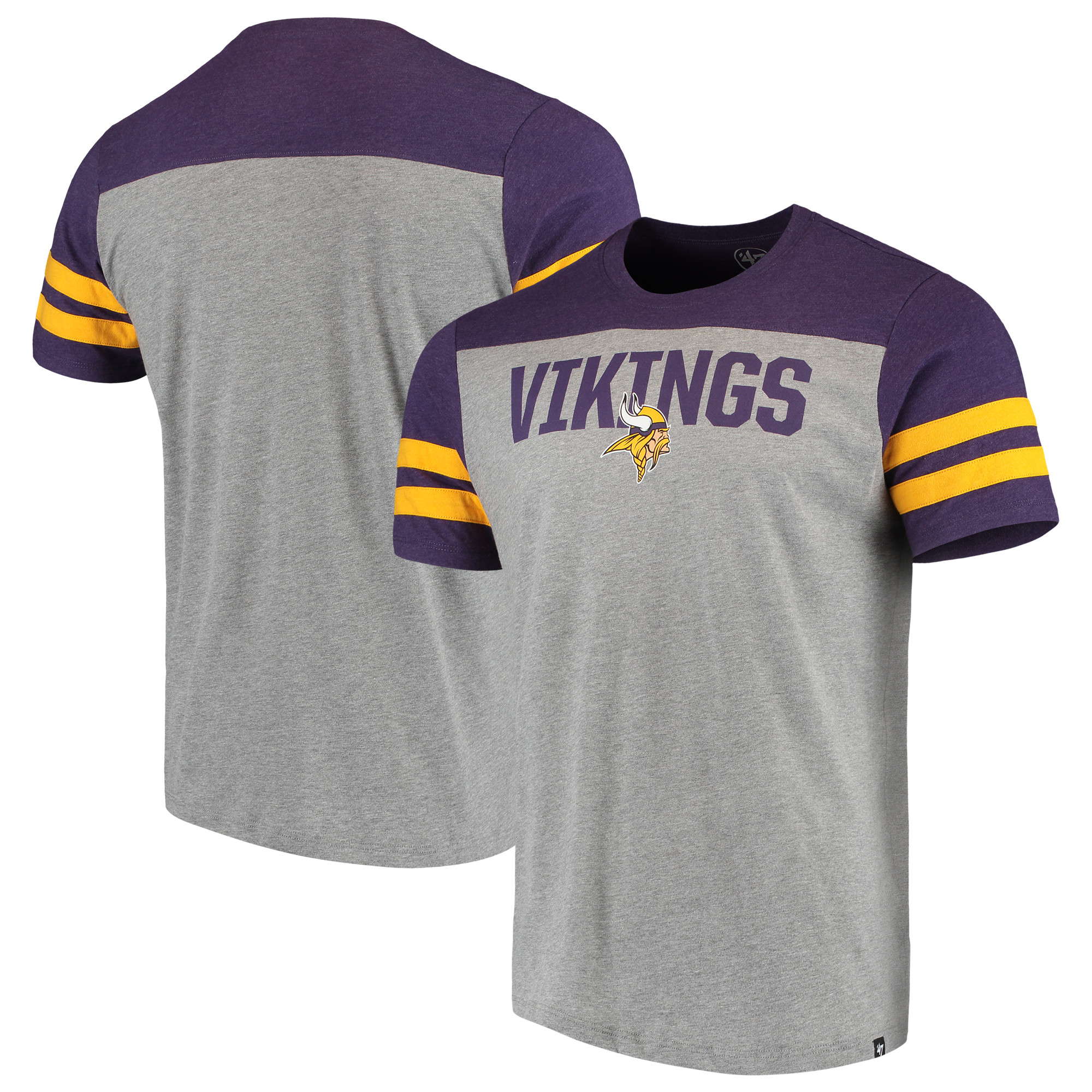 Minnesota Vikings '47 Versus Club T-Shirt - Heathered Gray/Heathered Purple
