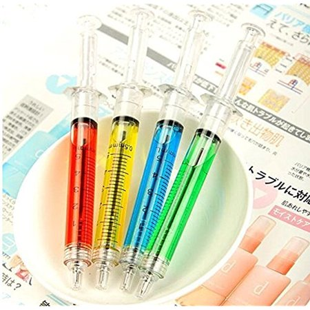 Novelty Liquid Filled Syringe Pens Ballpoint Pen for Students Gift 4Pcs/Pack Liquid Color:Multicolor - Syringe Pen