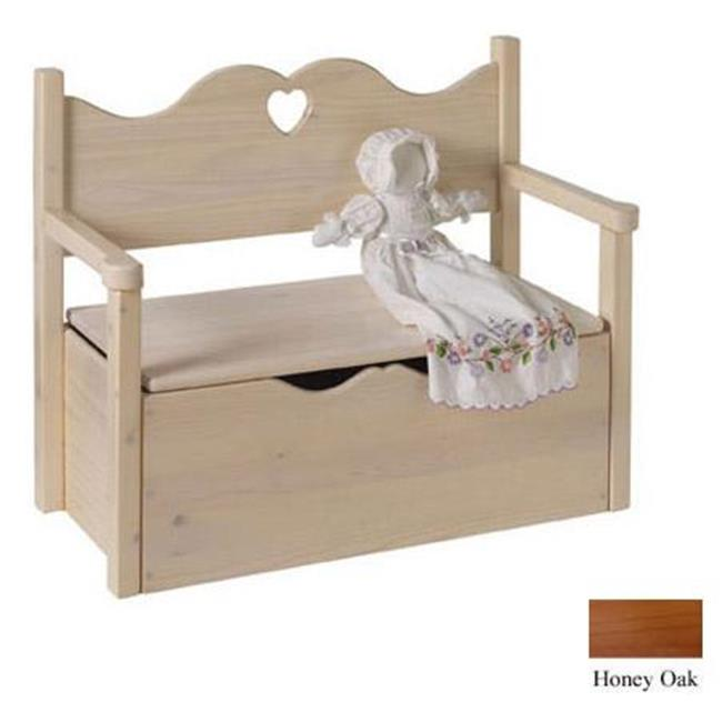 Little Colorado Bench Toy Box - Honey Oak - Heart Cut Out