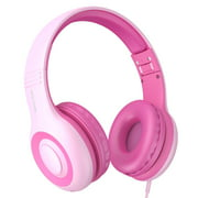 Kids Headphones, Jelly Comb Foldable Wired Over-Ear Headphones for Children with Music Sharing Function, 94dB Volume Limited, 3.5mm Audio Jack - Pink