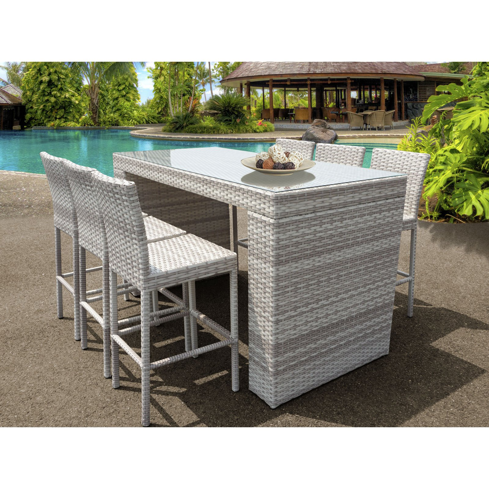 TK Classics Fairmont All-Weather Wicker 7 Piece Patio Bar Table Set